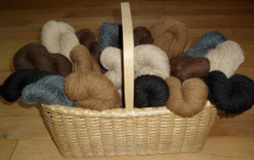 Sport and worsted weight alpaca yarns